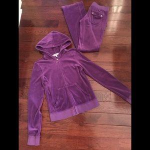 Juicy Couture purple matching set. XS pant/M pant.